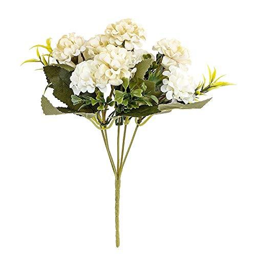 Ideen mit Herz Künstliches Blumenarrangement | Blumenstrauß | Blütenbusch | verschiede Blumen und Farben, 28 cm hoch, Blüten Ø ca. 3-4 cm (Weiß, Hortensien)