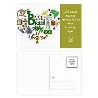 ブラジル愛の心の風景の国旗 詩のポストカードセットサンクスカード郵送側20個