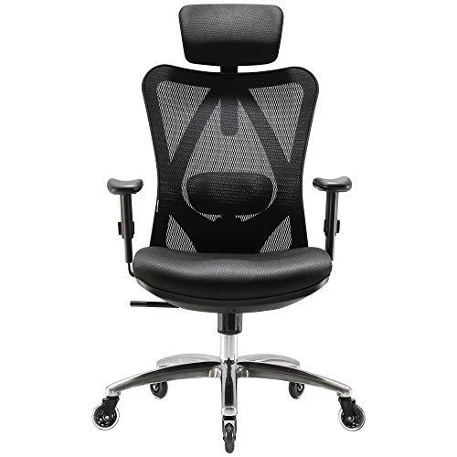 XUER Ergonomics Office Chair Mesh Computer Desk Chair,Adjustable Headrests Chair Backrest and Armrest's Mesh Chair (Black) black chair gaming