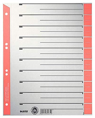 Leitz Register für A4, Deckblatt und 10 Trennblätter, Taben individuell zuschneidbar, 25 Stück, Überbreite, Grau/Rot, 100% Recyclingkarton, 16523025