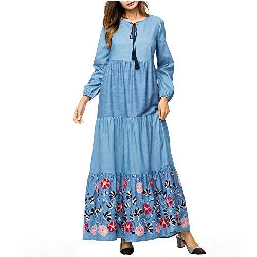 QINJLI damesjurk, grote maat grote pendel zwaar borduurwerk denim moslimische roben los hoge taille moederschap jurk Medium