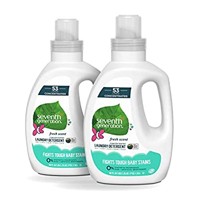 Seventh Generation Concentrated Baby Laundry Detergent, Fresh Scent, 40 Fl Oz, Pack of 2