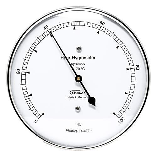 Fischer 122.01 - synthetisches Haar-Hygrometer - 103mm Luftfeuchtigkeitsmesser aus Edelstahl Made in Germany
