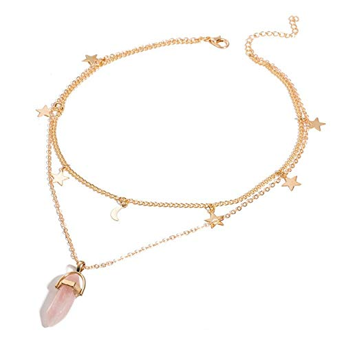 Spirit Hexagon Crystal Pendant Necklace Women Jewelry Opal Natural Stone Pendants Long Chains Chokers Necklaces For Women gift (Size : ZLN626 6)