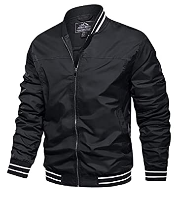 TACVASEN Men's Outdoor Sports Jackets Classic Cycling Softshell Jackets Zip Up Black, 2XL