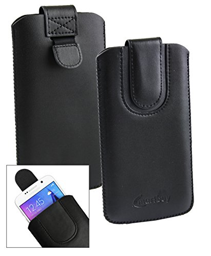 Emartbuy® Schwarz/Schwarz PU Leder Slide in Hülle Tasche Sleeve Halter (Größe LM2) Mit Zuglasche Mechanismus Geeignet Für Slok C3 Dual SIM Smartphone
