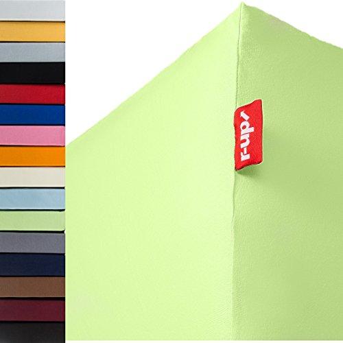 r-up Passt Spannbettlaken 180x200-200x220 bis 35cm Höhe viele Farben 100% Baumwolle 130g/m² Oeko-Tex stressfrei auch für Boxspringbetten (grün)