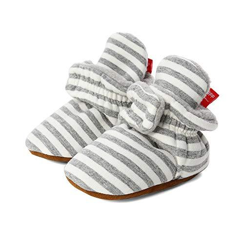 LACOFIA Zapatos de calcetín de bebé Invierno Botas Antideslizantes de Suela Blanda para bebé niño o niña Gris Claro 0-6 Meses