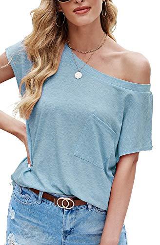 Odosalii Camiseta de manga larga para mujer, parte superior con hombros descubiertos, jersey informal, manga corta/manga larga, 01-azul, XXL