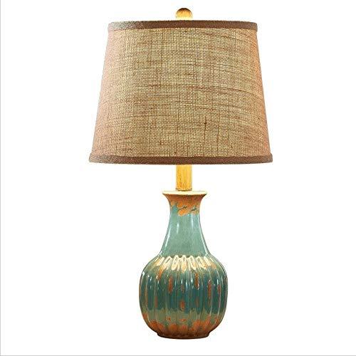 Rétro Petite Lampe De Table Salon Chambre Lampe De Chevet en Céramique Moderne LED Lampe De Bureau Dimmable Lampe Bleu (Color : Blue, Taille : Push Button)