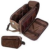 PAVILIA Toiletry Bag for Men, Travel Toiletries Bag   Water-resistant Dopp Kit, PU Leather Shaving Bag Organizer for Toiletry Accessories, Grooming, Hygiene, Cosmetic (Dark Brown)