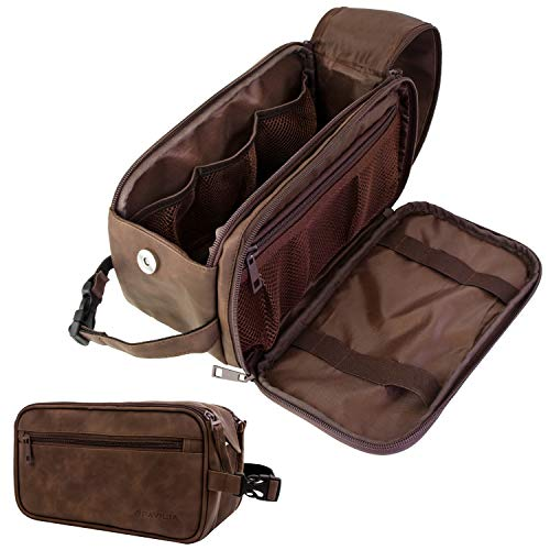 PAVILIA Toiletry Bag for Men, Travel Toiletries Bag | Water-resistant Dopp Kit, PU Leather Shaving Bag Organizer for Toiletry Accessories, Grooming, Hygiene, Cosmetic (Brown)