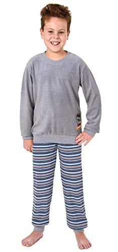 Toller Jungen Frottee Pyjama Langarm mit Bündchen und Cooler Stickerei - 291 501 13 577, Farbe:grau, Größe:170/176