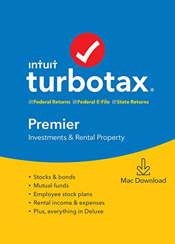 [Old Version] TurboTax Premier + State 2019 Tax Software [Mac Download]