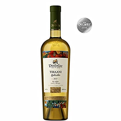 Dugladze AOC Tibaani (Rkatsiteli) Georgian Wine Amber/Orange Wine in Qvevri - Silver Medal Decanter