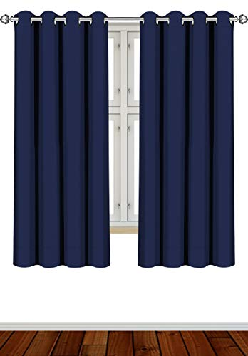 Utopia Bedding 2 Panels Eyelet Blackout Curtains Thermal Insulated for Bedroom, W46 x L54 Inches, Navy