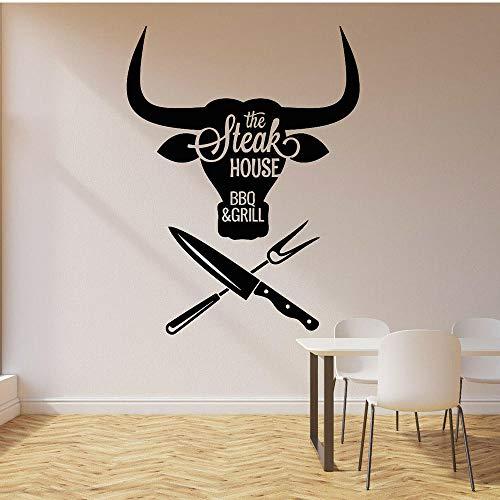 Barbacoa Etiqueta de la pared Carne Especial Grill Steak House Carne de res Vinilo Tatuajes de pared Decoración del hogar Accesorios para restaurante moderno 42x55 cm