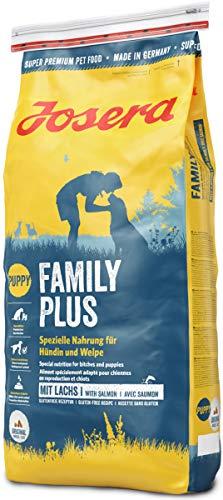 JOSERA Family Plus (1 x 15 kg) | Hundefutter für eine optimale Versorgung von Hündin und Welpen | Super Premium Trockenfutter für trächtige/säugende Hündinnen | 1er Pack