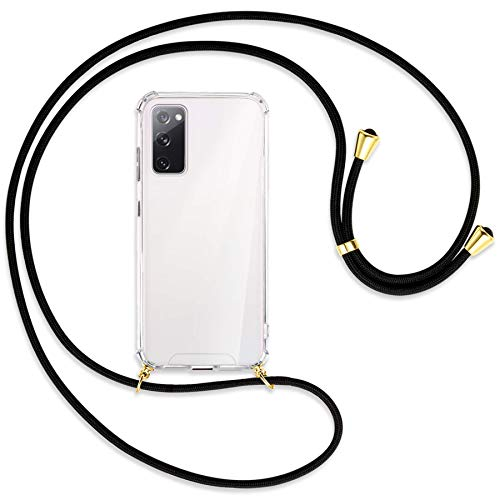 mtb more energy® Handykette kompatibel mit Samsung Galaxy S20 FE (SM-G780, 6.5'') - schwarz/Gold - Smartphone Hülle zum Umhängen - Anti Shock Strong Full TPU Hülle
