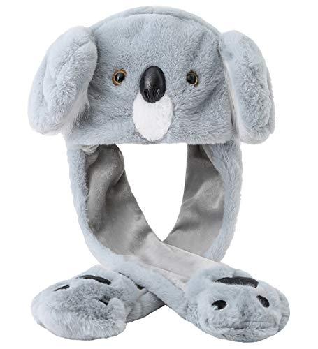 dressfan Dame Mädchen Plüsch Tier Ohr Hut Spielzeug Geburtstagsgeschenk mit Beweglichen Ohren Drücken der Tiermütze Machen die Ohren Bewegen Mädchen Cosplay (K-Graues Faultier)