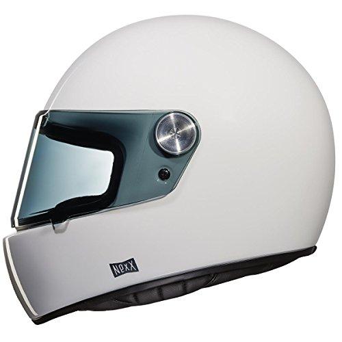 Nexx X.G100 XG100 Racer Purist Plain White Full Face Retro Motorcycle Helmet (M)