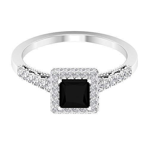 Anillo de compromiso de diamantes negros de 5 mm de corte princesa creado en laboratorio, 14K Oro blanco, Size:EU 70
