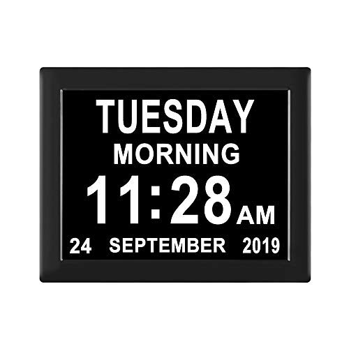 [8 Alarm Options] Extra Large Non-Abbreviation Day Date Month Clocks 3 Medication Reminders Digital Calendar Day Dementia Clock for Seniors Elderly Vision Impaired Memory Loss Alzheimer Clock