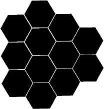 Yililay Zwart acryl DIY spiegel-wandsticker zelfklevend hexagonaal behang decor 12st