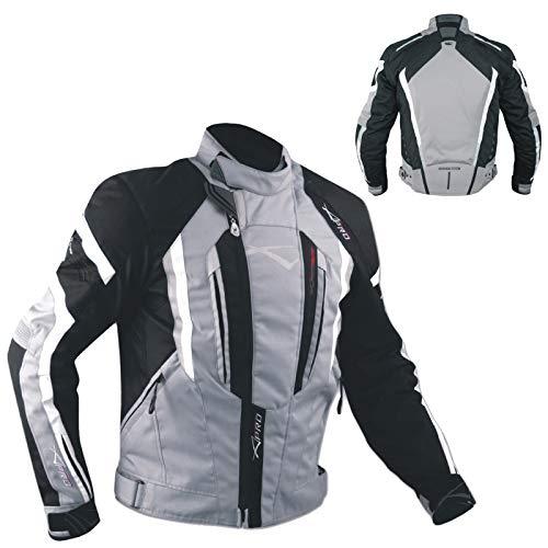 Giacca Cordura Moto Tessuto Impermeabile Sport Touring Sfoderabile Grigio XXL