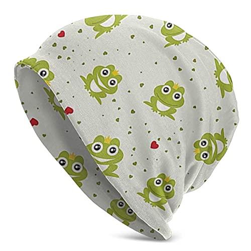 Frog Prince On Heart Punteado Retro Slouchy Beanie Skull Cap Sombrero Infinito Bufanda Sombreros Suaves de quimioterapia para el cáncer