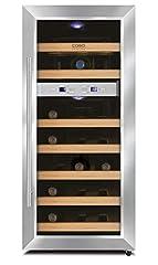 CASO WineDuet 21 | Wijnkoelkast voor 21 flessen rode wijn | 2 zones voor 7-18°C en 10-18°C, LED, 9 verdiepingen gemaakt van hout, UV-filterglas, roestvrij staal*
