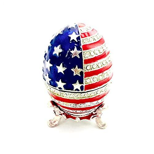 1pc 6 * Forma 4cm Smalto Trinket Uovo Gioielli Della Bandiera Americana Dei Monili Di Disegno Contenitore Dell'organizzatore Dello Smalto Di Sicurezza, Bandiera Europeo Di Calcio