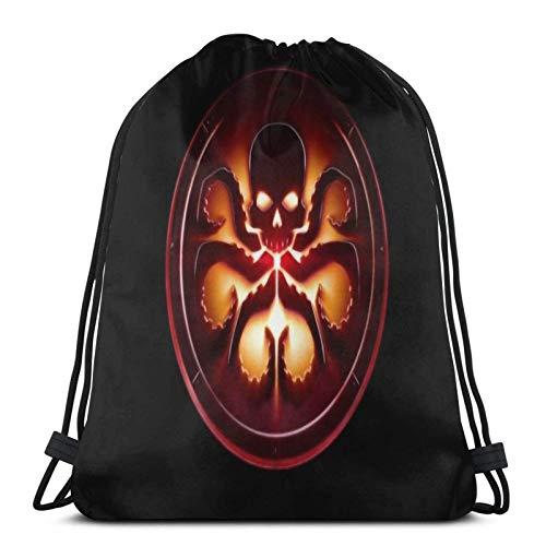 IUBBKI Mochila con cordón multifunción Agente de Shield Hydra Logo Sport Gym Mochila Cinch Bolsa impermeable para la escuela Yoga Gimnasio Natación Mochila de viaje
