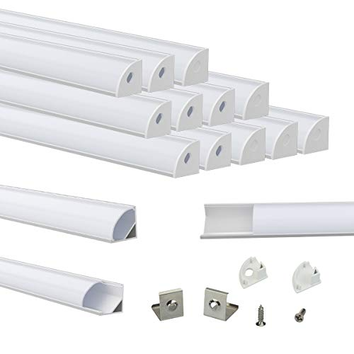 Muzata V-Shape LED Channel System with Milky White Cover Lens Frosted diffuser,Silver Aluminum Extrusion Profile Housing Track for 3528,5050,5630 Strip Tape Lights V1SW 1M WW,LV1 LW1,15Pack 1M/3.3FT