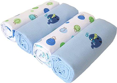 Weich und Kuschelig hautfreundliches Moltontuch Molton 100% Baumwolle Flanellwindeln Baumwolltücher Spucktücher - Blau/Wal