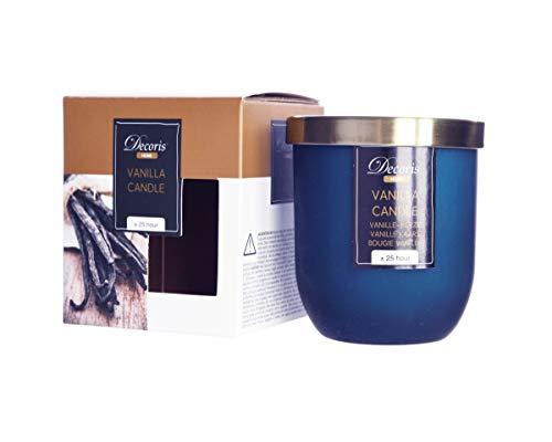 Kaemingk Vanille Duftkerze im Glas Kerze Premium Deckel in gebürstetem Gold Dauer ca. 25 Std.