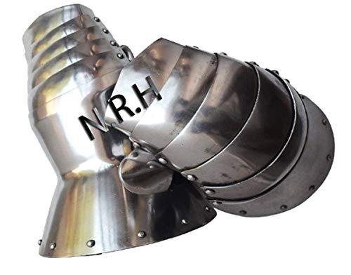 Nautical Replica Hub Medieval Armor Functional Gauntlets Reenactment 18G Steel Silver Finish