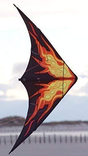Wolkenstürmer Flame Lenkdrachen mit Glasfaser-Gestänge, schwarz - Kite für Einsteiger