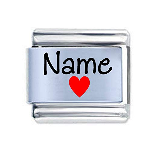 Colorev Custom Name and Red Heart Italian Charm - Fits all 9mm Italian Style Charm Bracelets