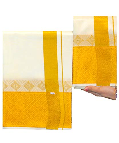 PURE SILK, Dhoti for men, blended with Gold Zari - Ideal for Groom and VIPs (Cream - 250K)