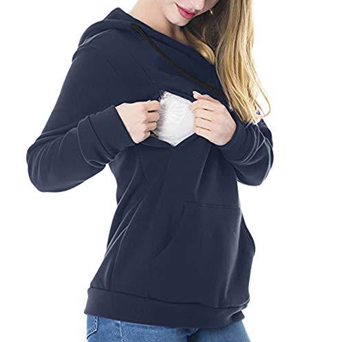 SANFAHSION Sweat de Maternité,Hoodie Imprime Étoile Grossesse Blouse d'allaitement Brassière Top Col Haut Mode Sweat Shirt Chapeau Chaud Confortable Hiver (L, Bleu uni)