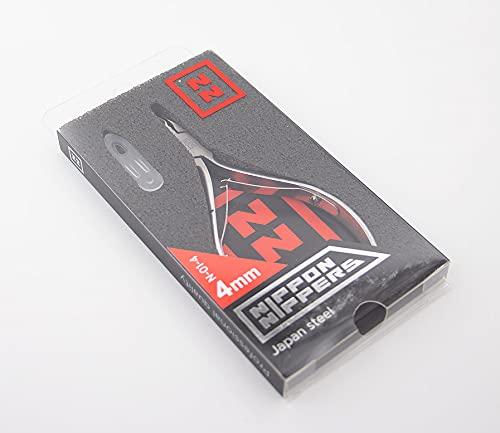 Nippon Nippers, Alicates Profesionales para Cutícula, 4 mm, Acero Aleación Japonesa, Afilado Manual, Manicura Pedicura uñas, 105 mm, doble muelle, N-01-4