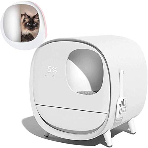 BAHLT Nettoyage Automatique Cat bac à litière, autonettoyants Pots de litière for Chat entièrement fermé électrique Intelligent Chat de Toilette à litière de Chat tiroir Déodorant Box (Color : White)