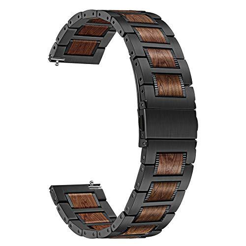 TRUMiRR Kompatibel mit Samsung Galaxy Watch 3 45mm/Galaxy Watch 46mm/Gear S3 Holz Armband, 22mm Edelstahl & Natürliche Walnuss Holz Uhrenarmband Quick Release Ersatzband für Amazfit GTR 47mm