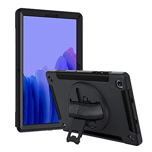 Lobwerk Funda protectora 4 en 1 para Samsung Galaxy Tab A7 SM-T500 T505 de 10,4 pulgadas, carcasa rígida + función atril + asa negra