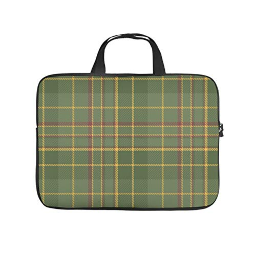 Scottish Tartan Green Double Sided Printed Laptop Sleeve Protective Cover Dustproof Neoprene Laptop Sleeve Bag Trendy Notebook Bag Sleeve Case Computer Accessories