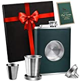 KWANITHINK Flasks for Liquor for Men, Stainless Steel Whiskey Flask Shot Flask 8 oz, Hip Flask Gift Set with Funnel&Cup, Christmas Gift for Dad Boyfriend