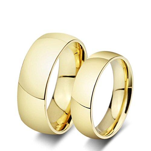 ROMQUEEN JOYERÍA 2 Piezas Anillo de 8MM/6MM Anillo de Oro 24 Kilates Anillos de Oro Boda Hombre Y Mujer Anillo Mujer/Hombre de Oro(la Talla Mujer:20 & Hombre:31)