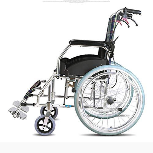 Älterer Rollstuhl, Der Bewegliche Ältere Faltende Behinderte Ultraleichte Reise-Rollstuhl-Laufkatze Kleine Fahrende Medizinische Tragbare Aluminiumlegierungs-Laufkatze Passend für Vorgerückten Reise-