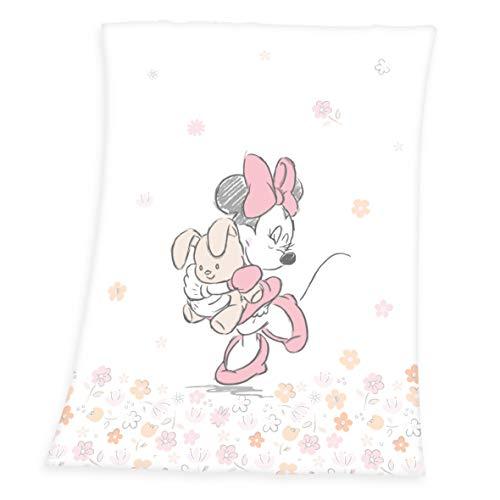 Herding Disney Minnie Mouse Coperte, Polyester, Bianco, 75 x 100 cm